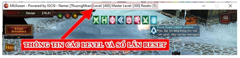 Thông tin level va số lần reset