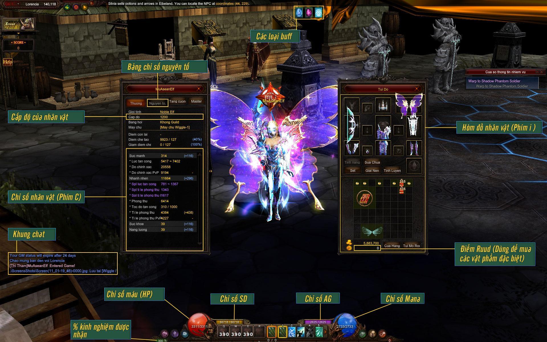 Các thông số cơ bản khi chơi MU Online
